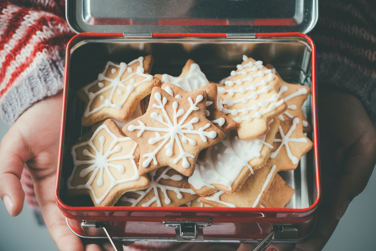 boîte en fer de biscuits de Noel