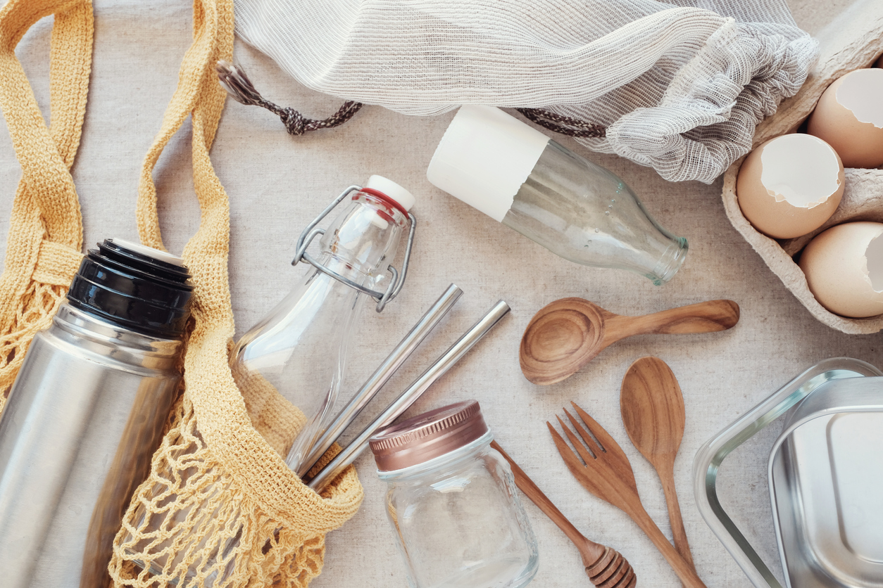 kit zéro déchet couverts sac bois bambou défi 7 jours