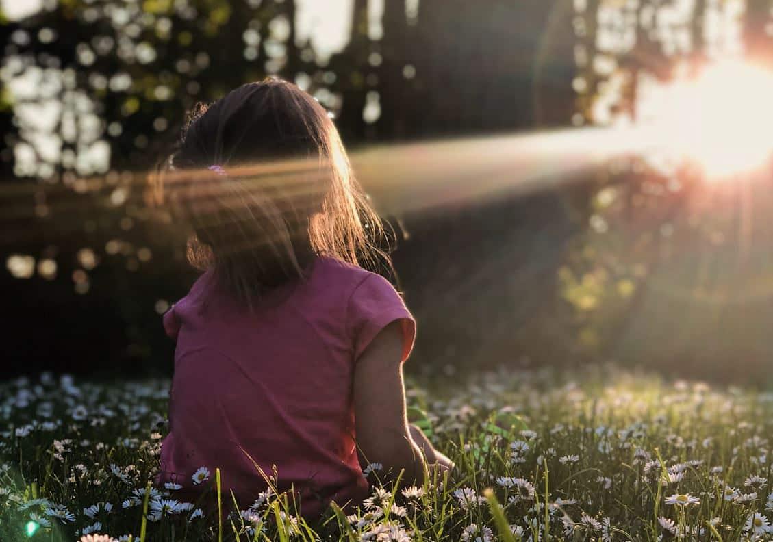rayons du soleil petite fille nature fleurs champs