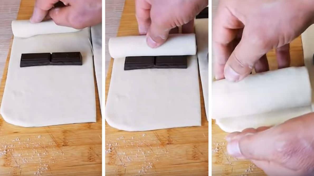 roulage étapes pâte a pains au chocolat