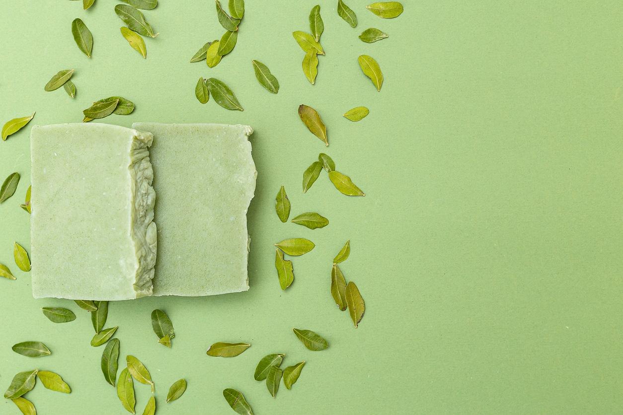 savon vert feuilles anti pelliculaireplantes recette shampoing solide
