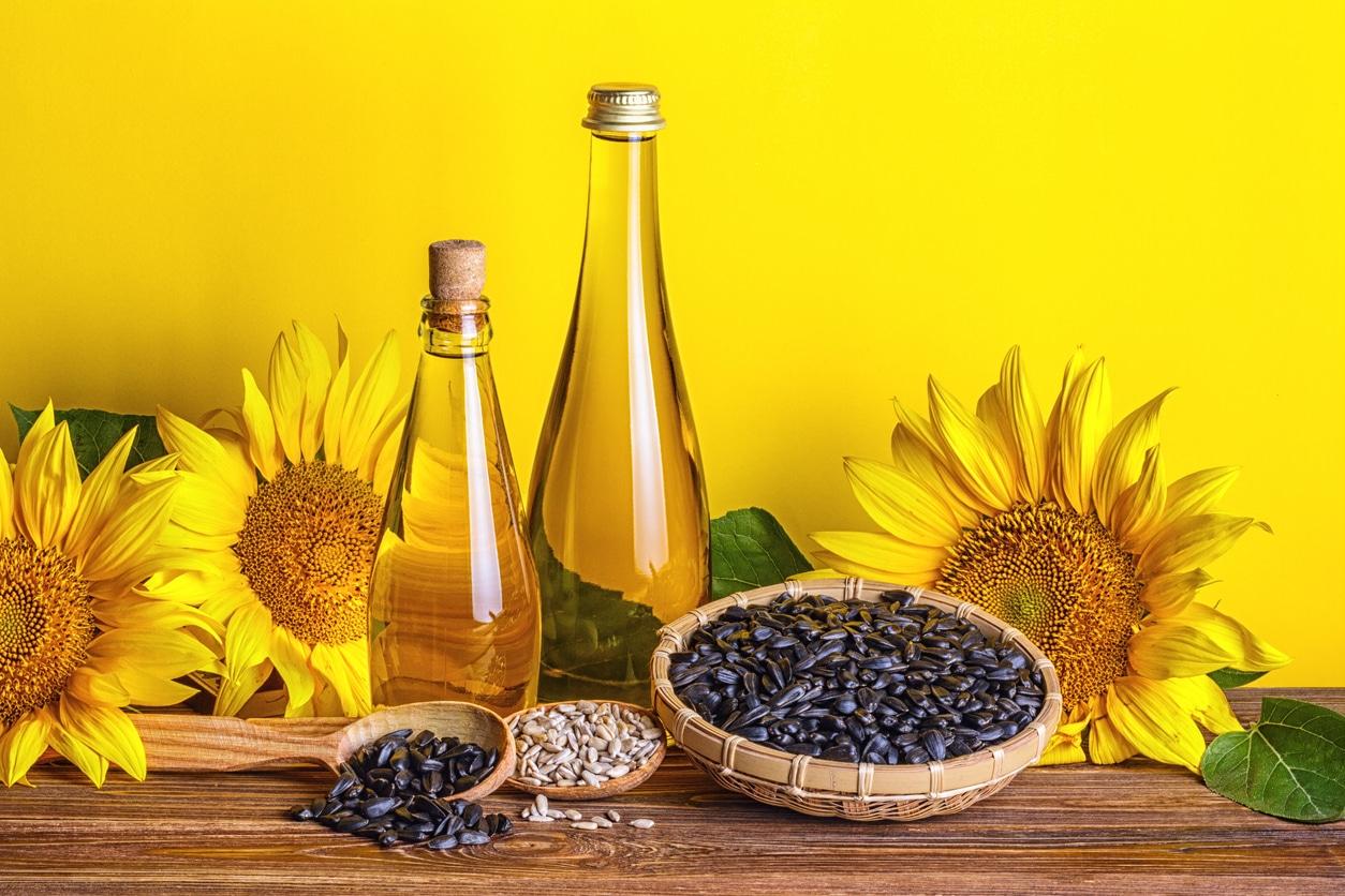 huile végétale de tournesol graines bouteilles