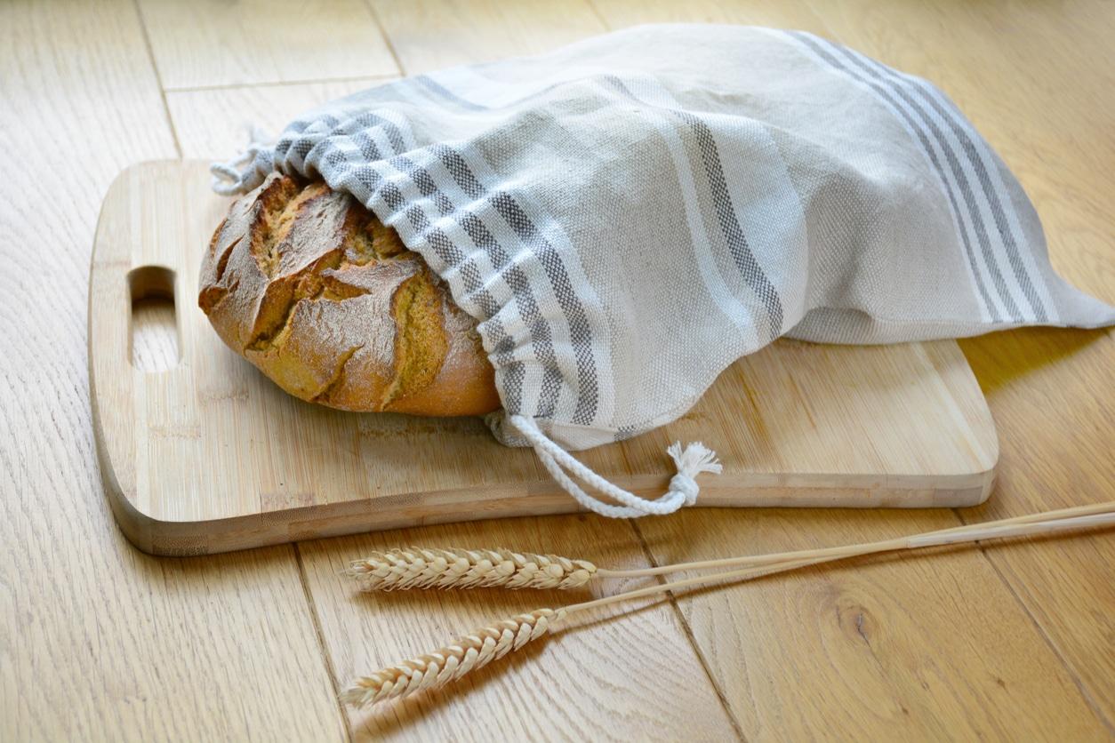 pain dans sac réutilisable zéro déchet blé sac vrac