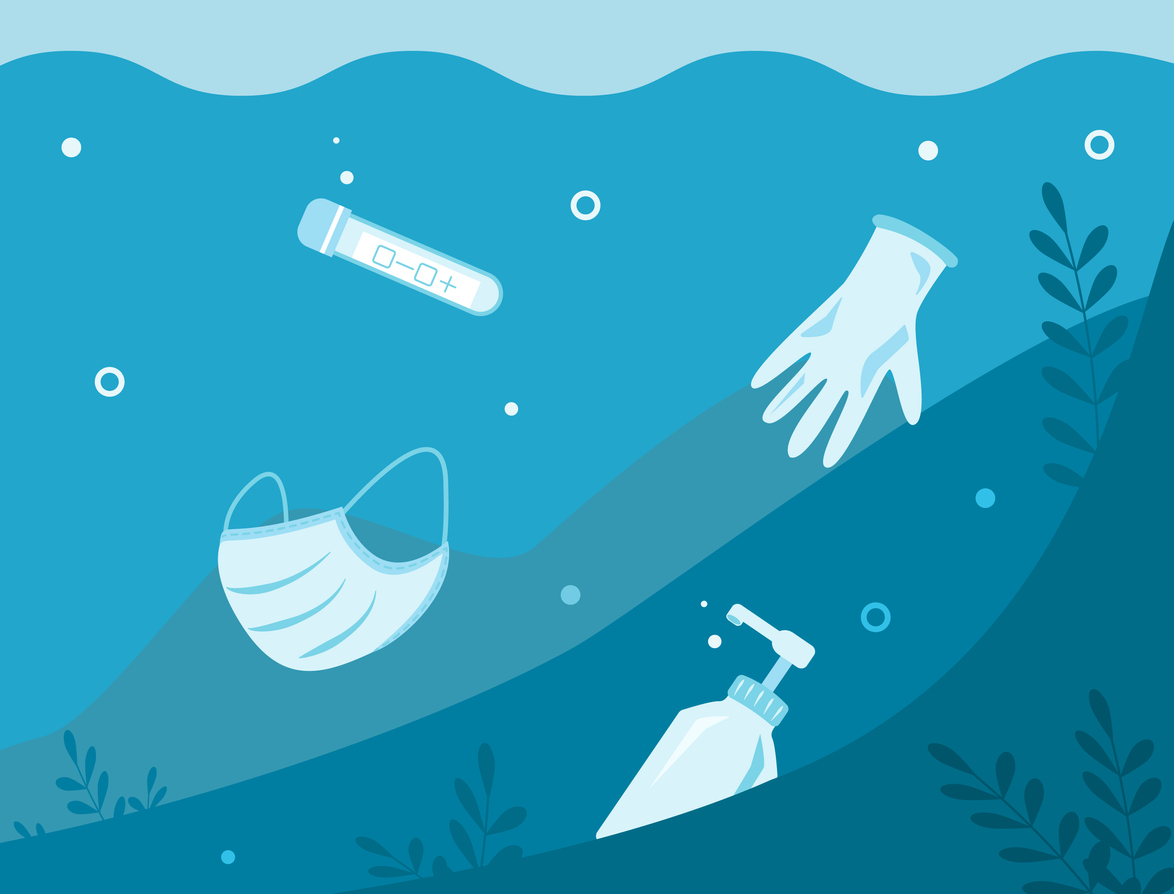 pollution plastique gel hydroalcoolique masque gants océan