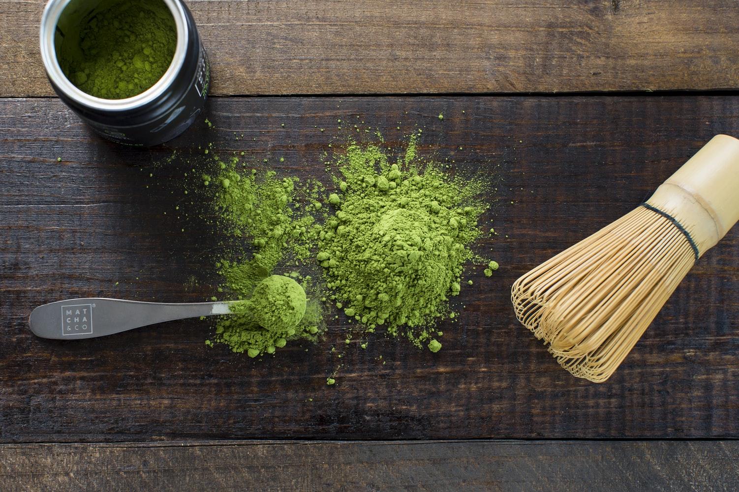 poudre de thé matcha colorant vert