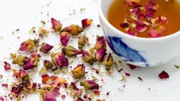 thé à la rose pétales de fleurs fanées