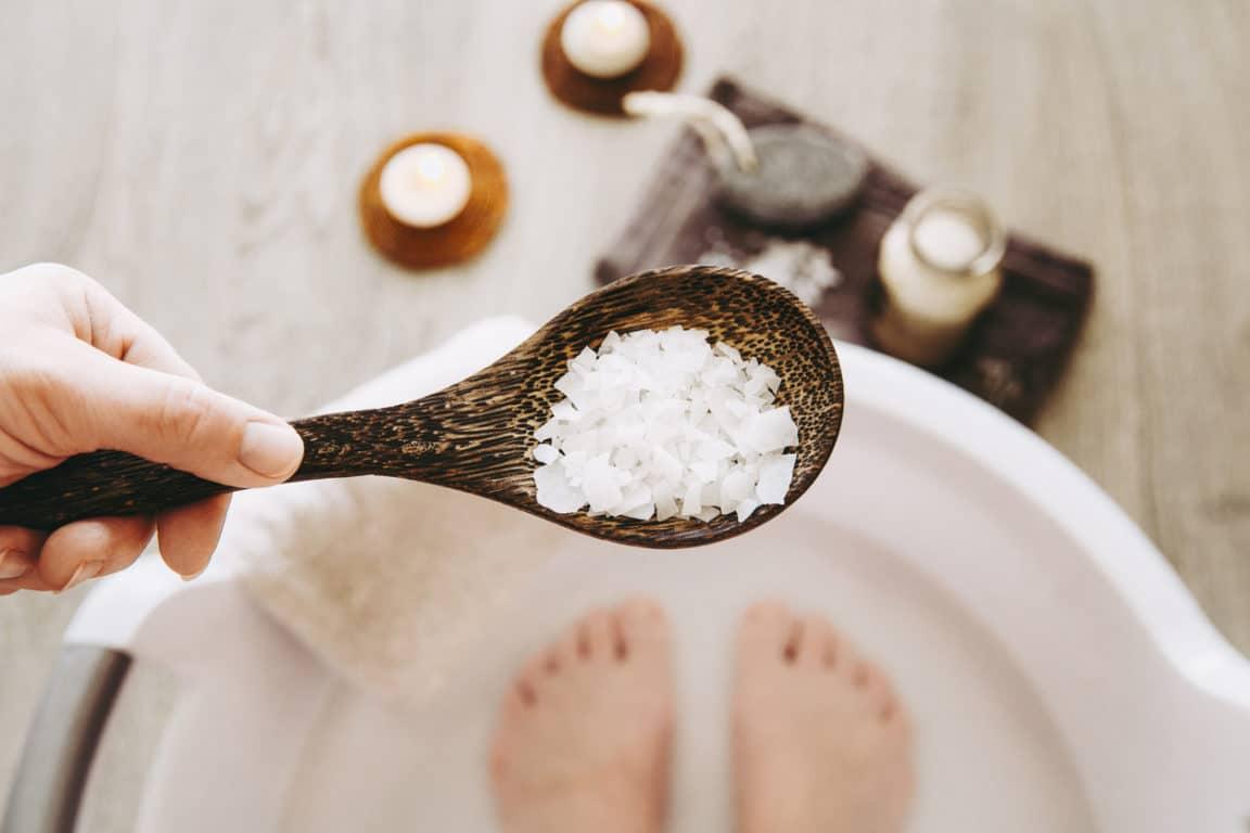 bain de pieds naturel sel recette Epsom bicarbonate soude