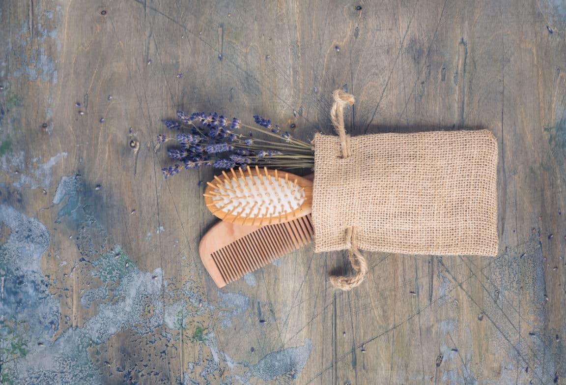 brosse à cheveux en bois lavande nettoyer peigne