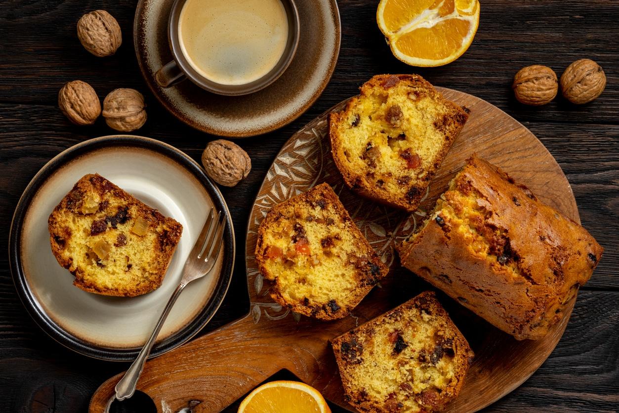 cake aux fruits secs quartier oranges noix gâteau cuisine thé tasse