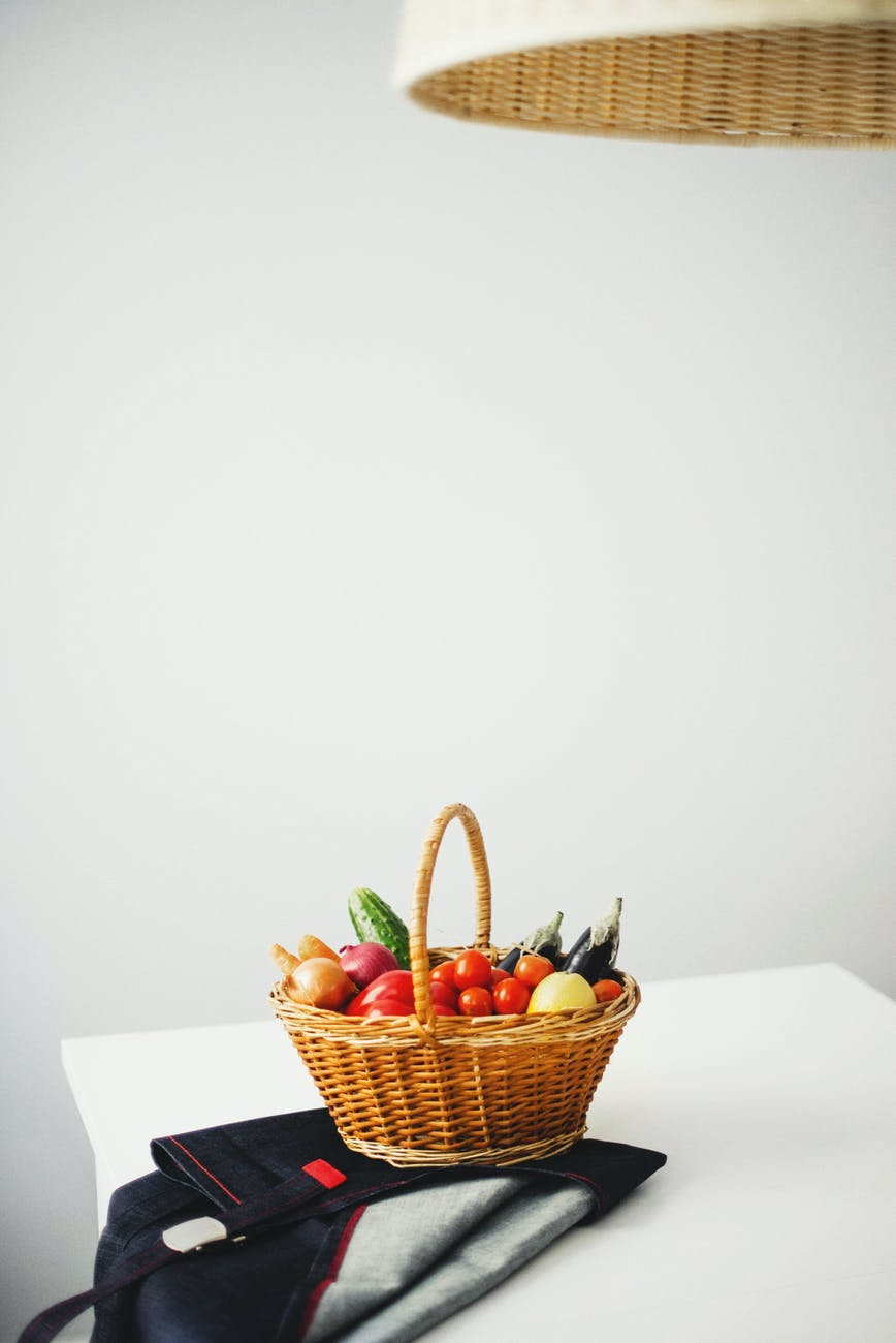 légumes panier osier épicerie