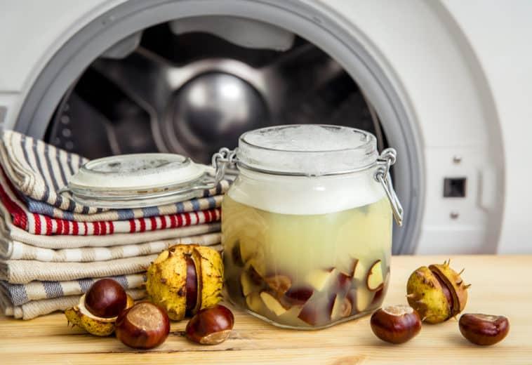 lessive marrons châtaignes naturelle machine vêtements zéro déchet