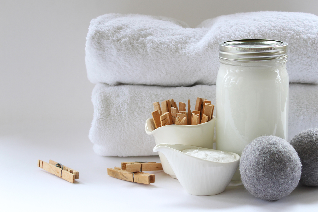 linge serviettes de bain lessive écologique balles de séchage