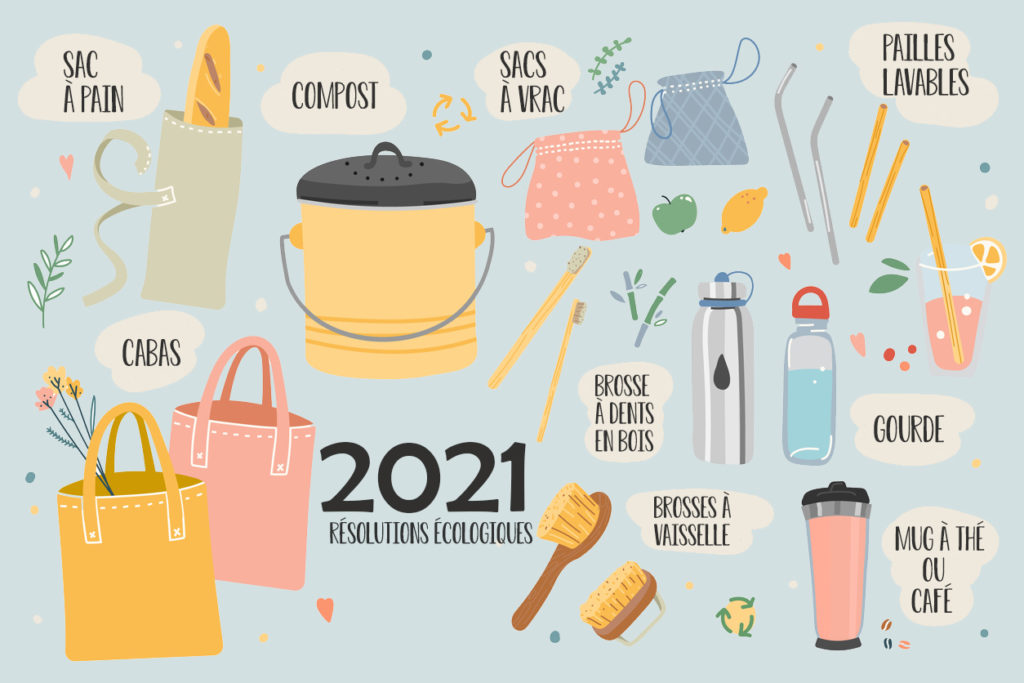 zéro déchet dessin bonnes résolutions écologiques 2021