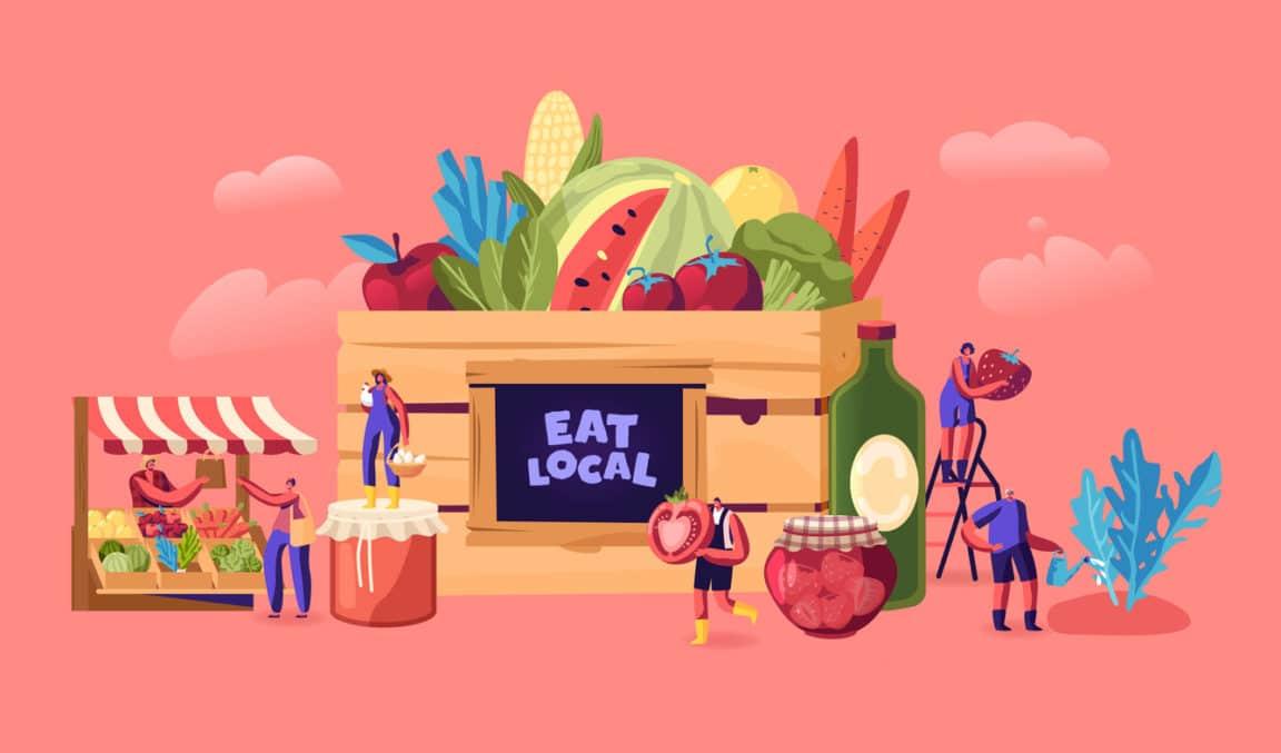manger local concept consommation durable gestes écologiques épicerie fruits légumes