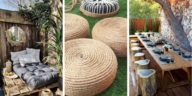 salon de jardin DIY bois palettes pneus