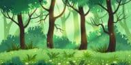 forêt verte arbres prairie nature terre fleurs dessin printemps