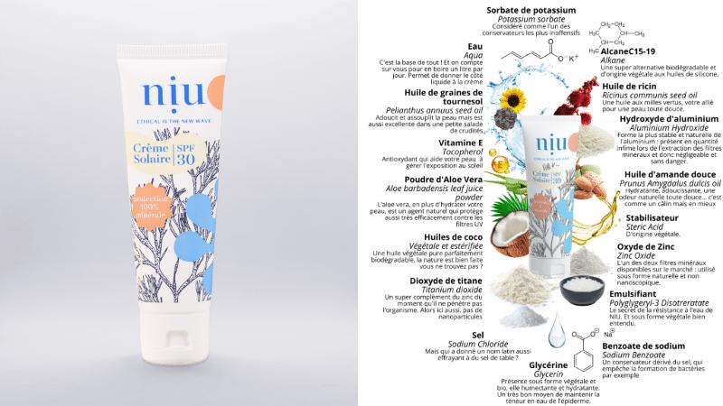crème solaire bio tube naturelle Niu