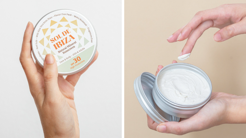 crème solaire naturelle bio zéro déchet fer réutilisable biodégradable Sol de Ibiza test produit