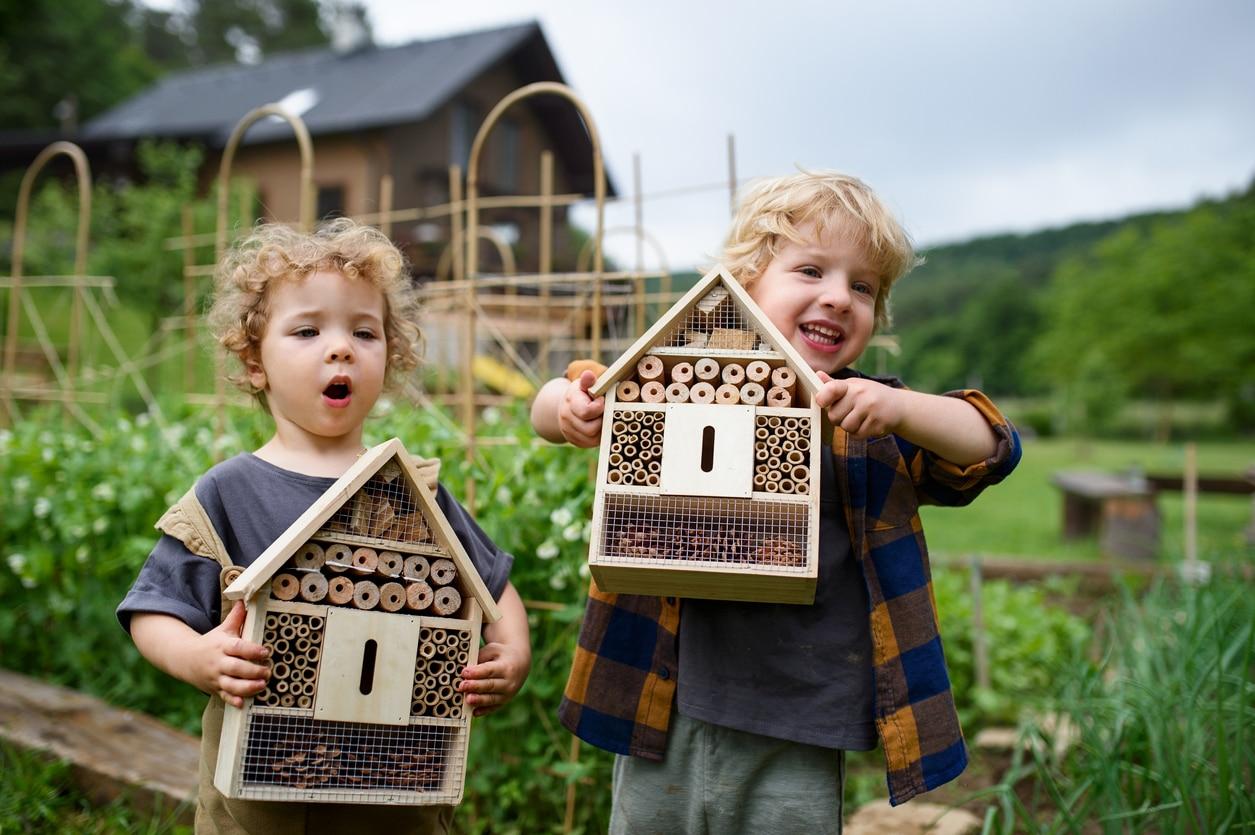 hôtels à insectes cabanes enfants jardin