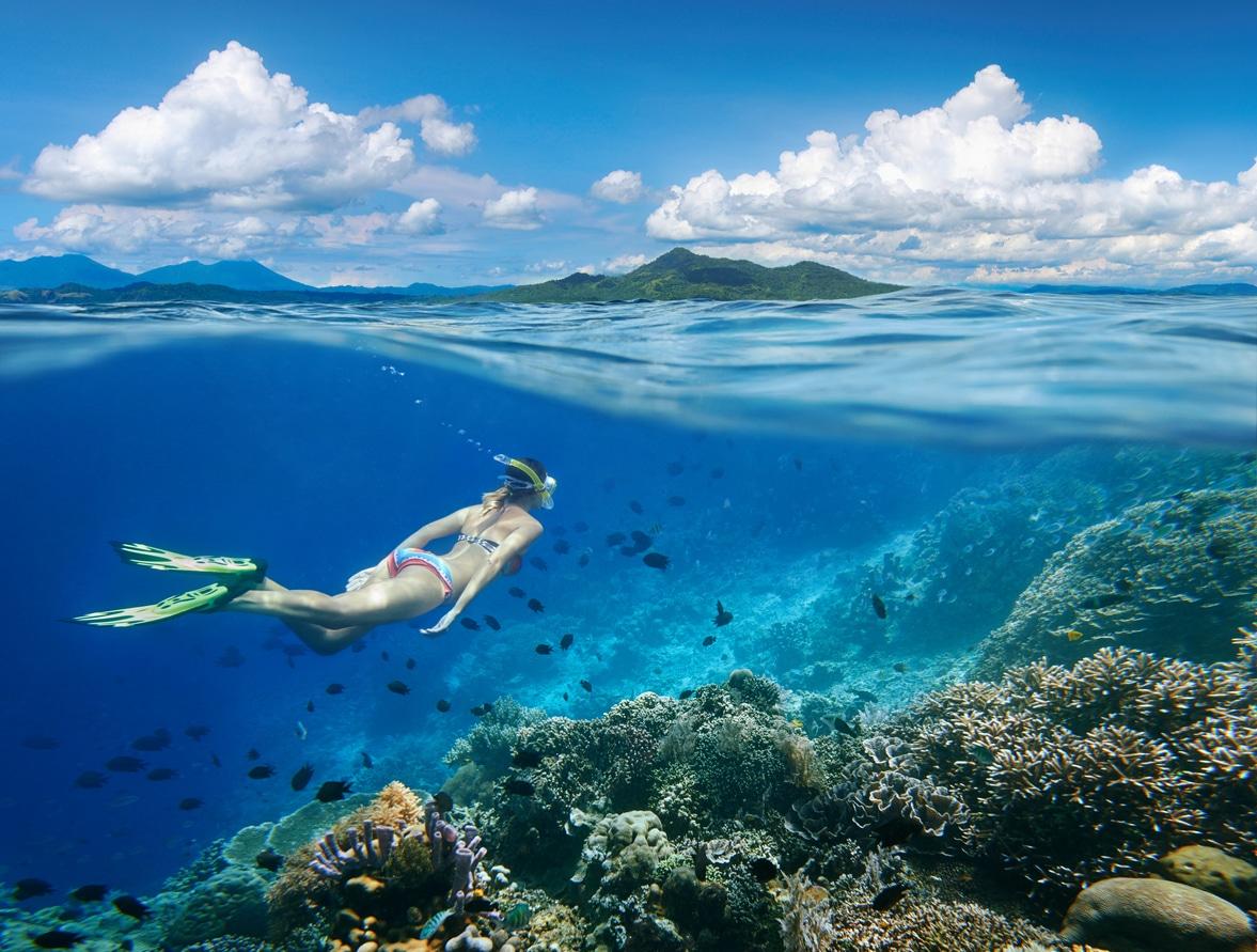 femme plonger nage eau mer océan coraux vacances île plage