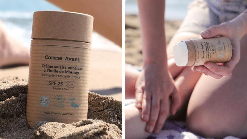 stick crème solaire naturelle biodégradable plage Comme Avant crèmes solaires zéro déchet