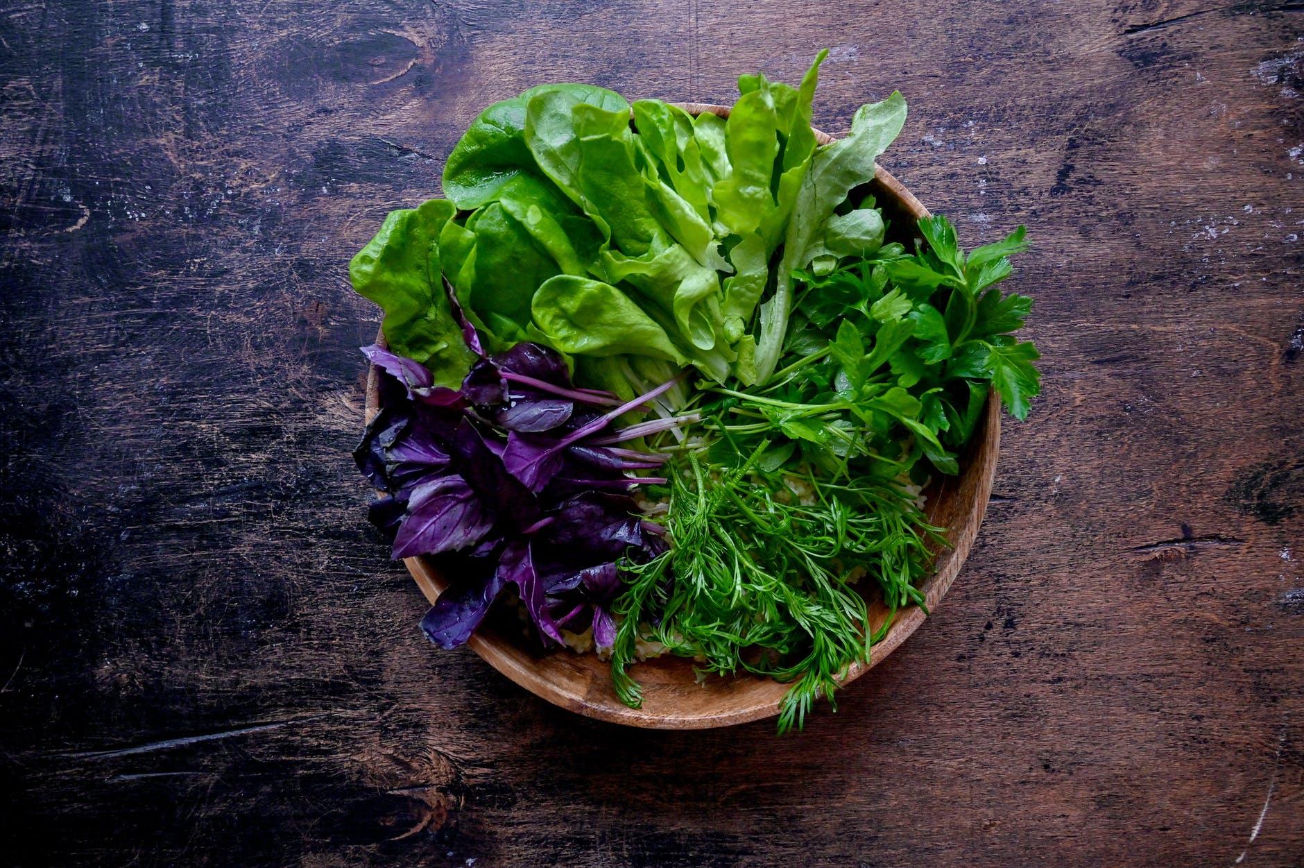 bol de salade verte laitue roquette plat entrée