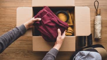 don vêtements colis carton emballer seconde main occasion